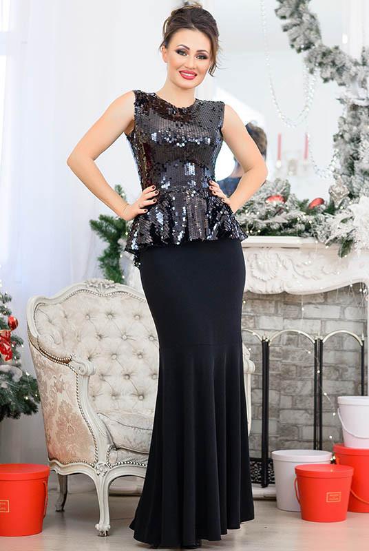Черный блестящий костюм Франческа