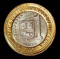 Монета Венесуэлы 1 боливар 2007 г., фото 1
