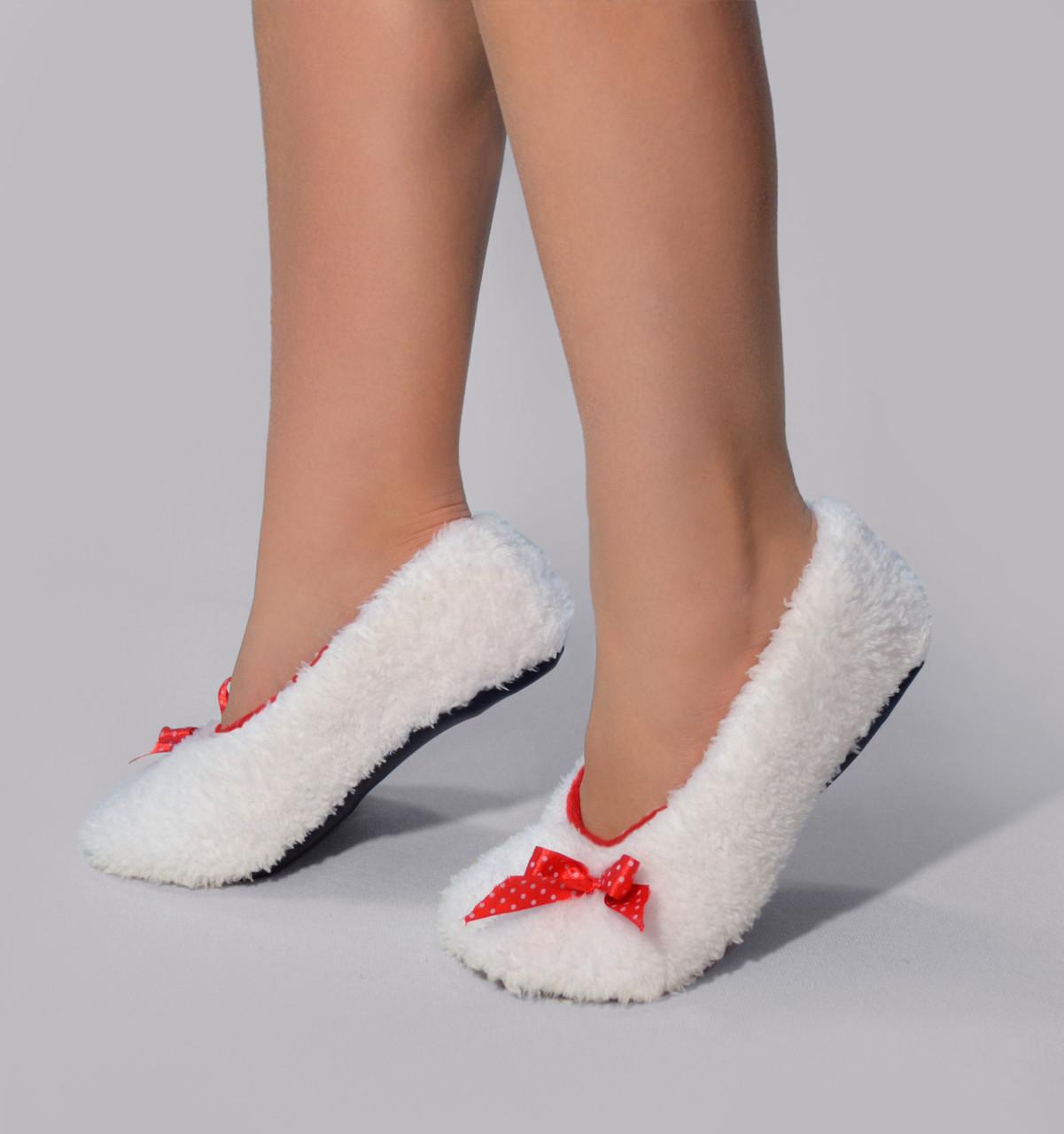 """Новогодние махровые балетки """"White"""" c красным"""