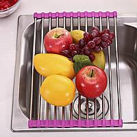 Сушарка для посуду над раковиною Kitchen Drainboard рожева 23 * 47 см, сушарка для посуду на мийку, фото 1