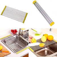 Сушка для посуду на мийку Kitchen Drainboard жовта 23*47 см, сушарка посуду на раковину | сушилка для посуды, фото 1