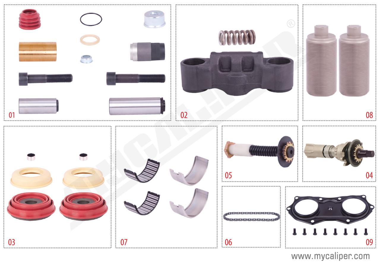 Комплект деталей суппорта KNORR SN6/SN7/SK7, без рычага