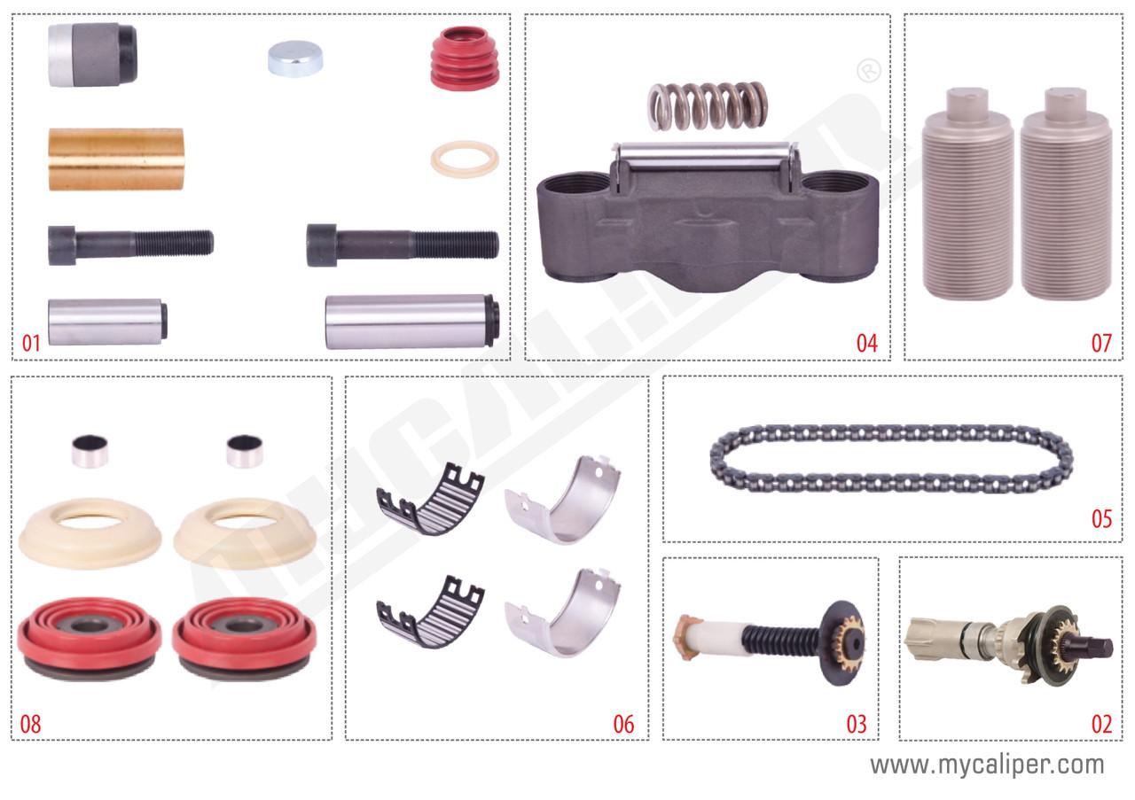 Комплект деталей суппорта KNORR SB6/SB7 (K001532/K010603/K001300) полный MB ACTROS, BPW