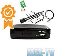 КОМПЛЕКТ Цифровой ресивер Т2 SIMAX и комнатная антенна с усилителем EUROSKY 005А