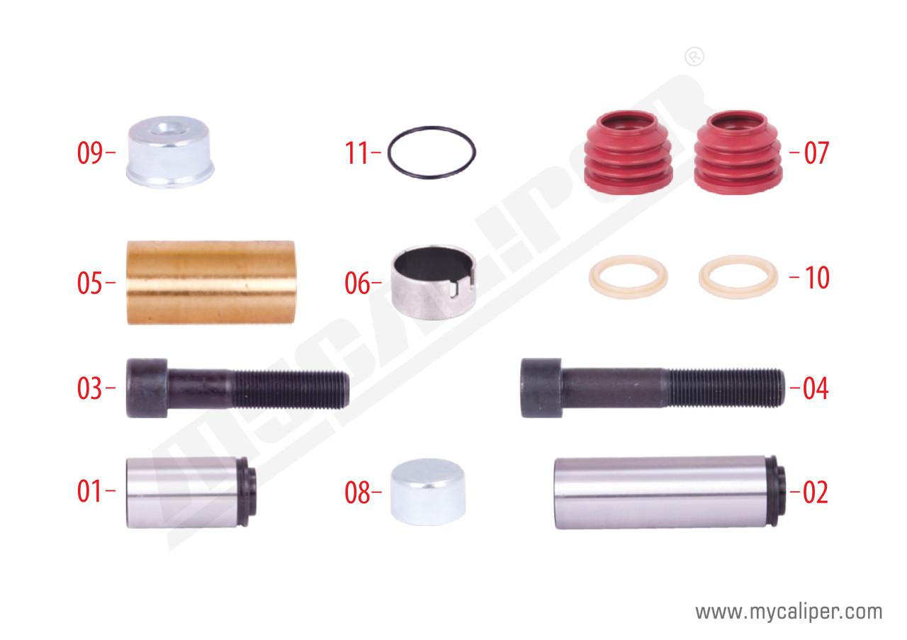 Ремкомплект суппорта KNORR SB6/SB7 направляющие+втулки+болты+пыльники+крышка большая с резинкой