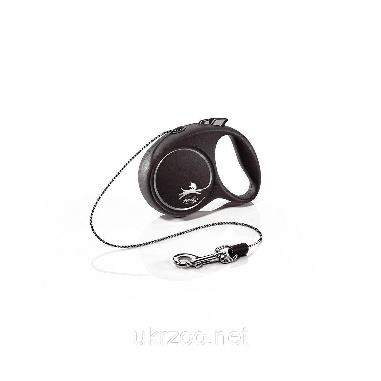 Поводок-рулетка Flexi с тросом «Black Design» XS 3 м / 8 кг (чёрная) 12241