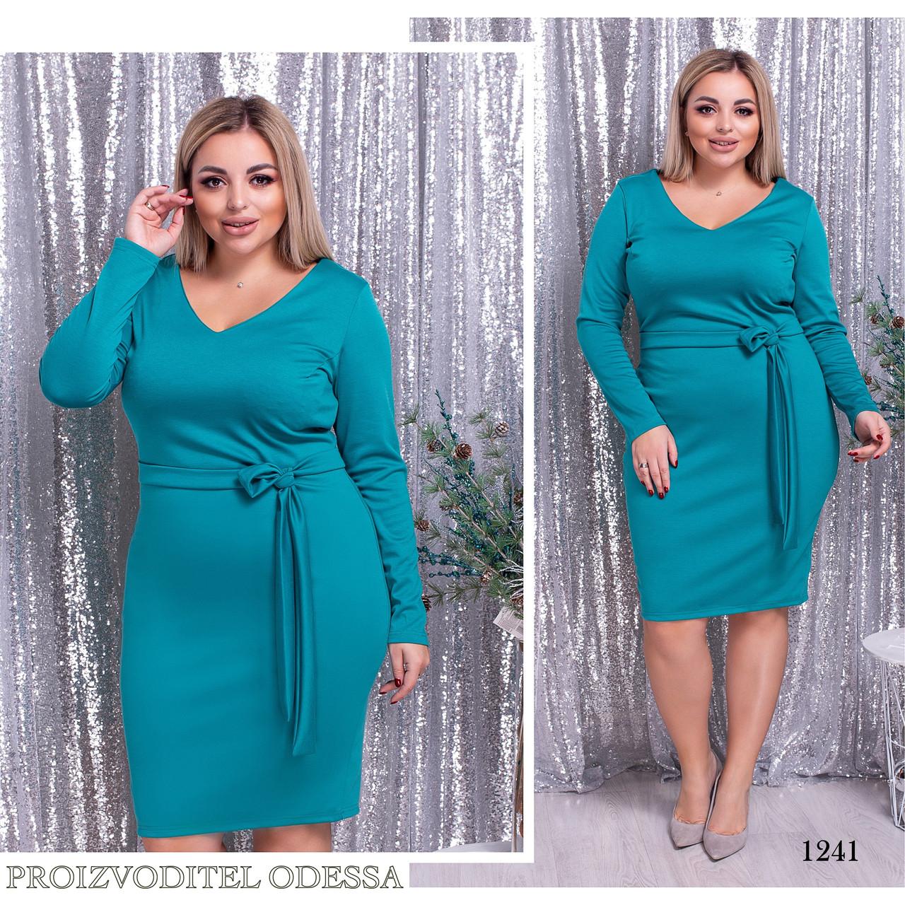 Платье облегающее под пояс простое франц трикотаж 48-50,52-54,56-58,60-62