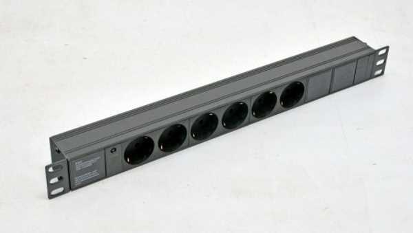 """Фільтр мережевий Kingda 19"""" на 6 розеток роз'єм С14 без шнура KD-GER(16)N1006WKPB19A-C14 (код 112755)"""