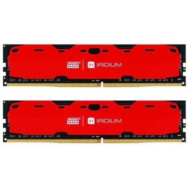 Пам'ять DDR4 RAM 16GB GOODRAM 2400MHz PC4-19200 (Kit of 2x8GB) Iridium Red (IR-R2400D464L15S/16GDC) (код
