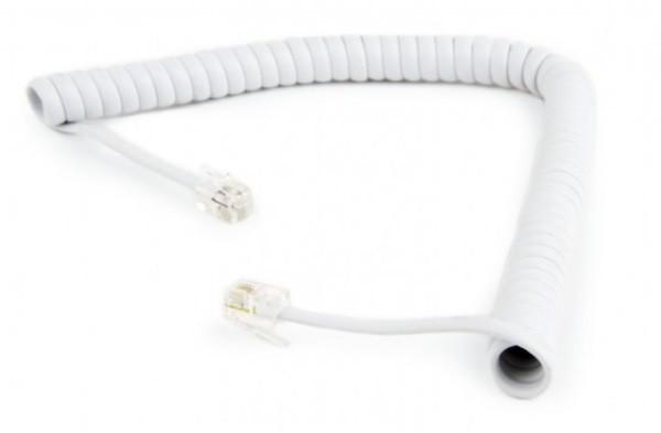 Кабель Cablexpert TC4P4CS-2M-W телефонний спіральний кабель для трубки TC4P4CS-2M, 4P4C, 2 метра  (код 100881)