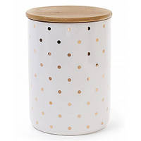 Bona Банка Gold Star Горох для хранения сыпучих продуктов 1225мл с бамбуковой крышкой