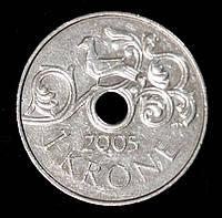 Монета Норвегии 1 крона 2005 г., фото 1