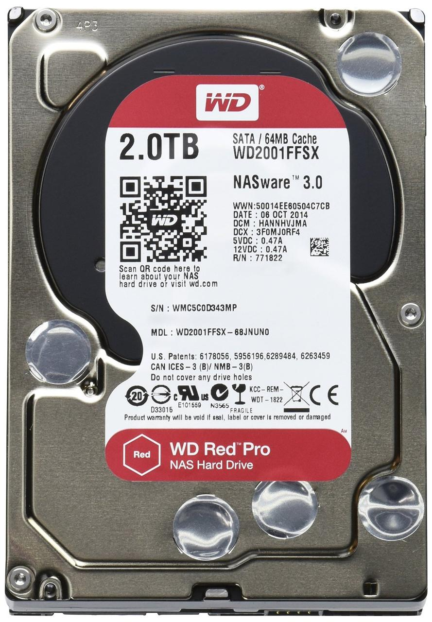"Жорсткий диск HDD 2TB Western Digital Red Pro NAS  3.5"", 64MB, SATA 3, 7200rpm  (WD2002FFSX) (код 97496)"