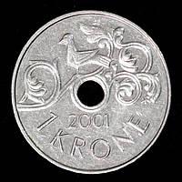 Монета Норвегии 1 крона 2001 г., фото 1