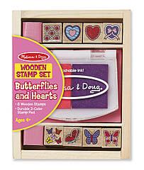 Набір дерев'яних штампів Melissa & Doug  Метелики та сердечка (MD12415) (код 95524)