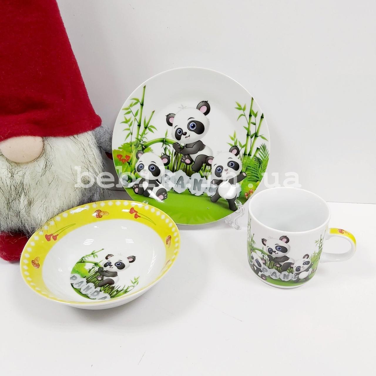 Керамический набор посуды для детей с изображением пандочек