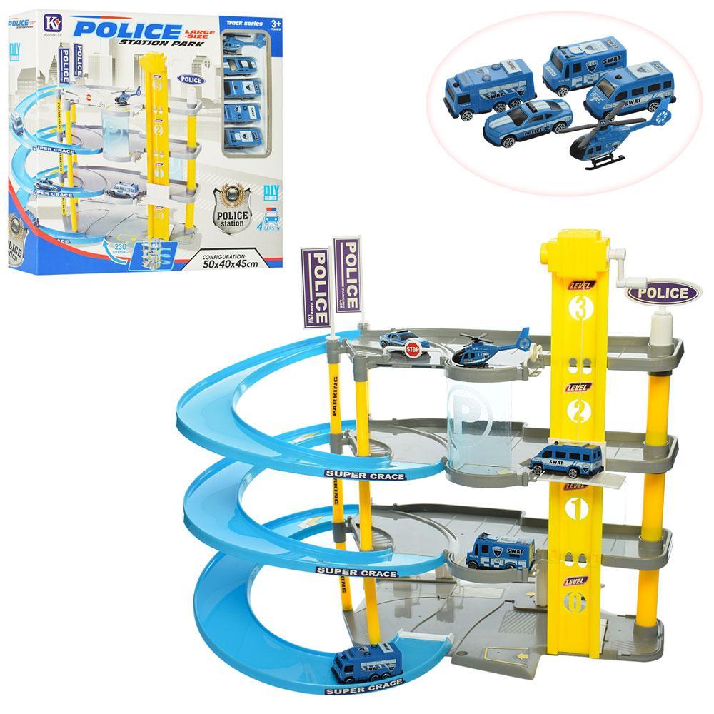 Детский игровой набор гараж-паркинг для ребенка, Полиция 8801-6 трехэтажный с лифтом, машинки в комплекте
