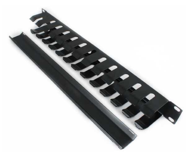 Кабельний організатор 1U металевий перфорований з кришкою, чорний (код 86266)