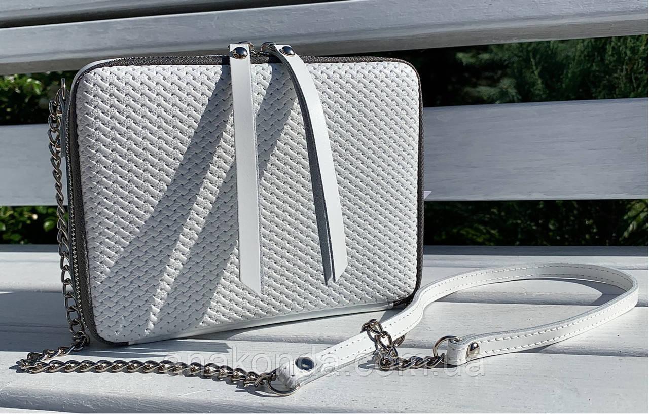 60 Натуральная кожа Сумка женская белая кросс-боди кожаная сумочка на цепочке белая сумка белая
