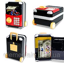Детская электронная копилка сейф чемодан  Cartoon Bank с кодовым замком Superman