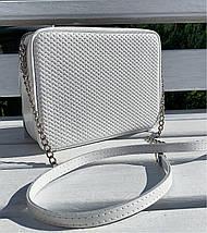 60 Натуральная кожа Сумка женская белая кросс-боди кожаная сумочка на цепочке белая сумка белая, фото 3