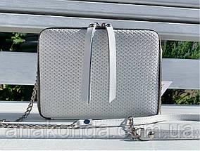 60 Натуральная кожа Сумка женская белая кросс-боди кожаная сумочка на цепочке белая сумка белая, фото 2