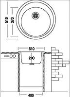 Мойка для кухни гранитная круглая bulbul Moon. Много расцветок, фото 4