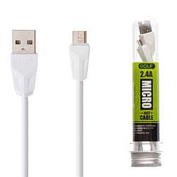 USB-кабель GOLF GC-46m micro-usb - 1м, 2,4А, Білий