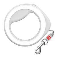 Поводок-рулетка круглая WAUDOG, размер XS-M, до 40 кг, 2,9 м, белая