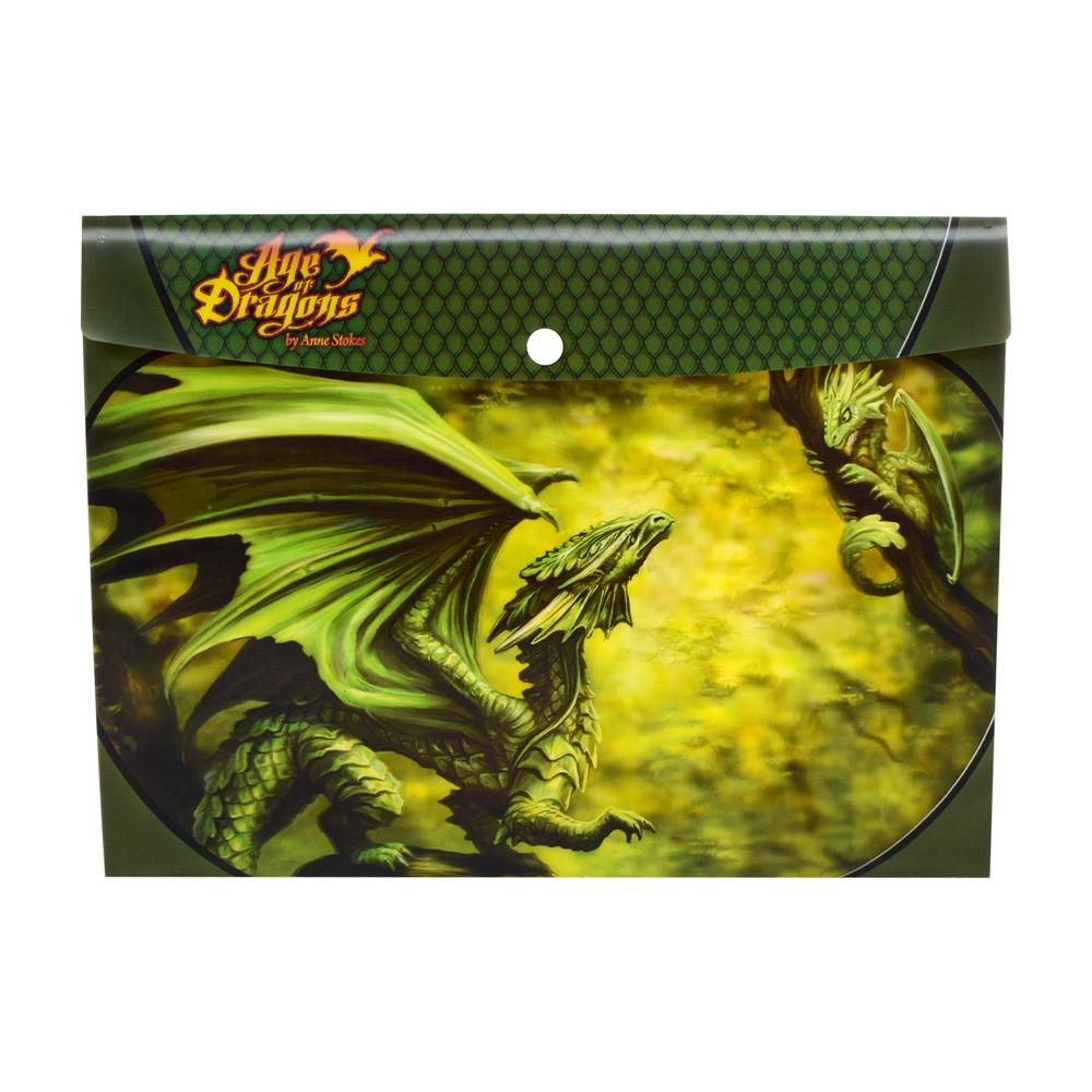 Папка 18488  лесной дракон, 33-24см. на кнопке, пластик, в кульке