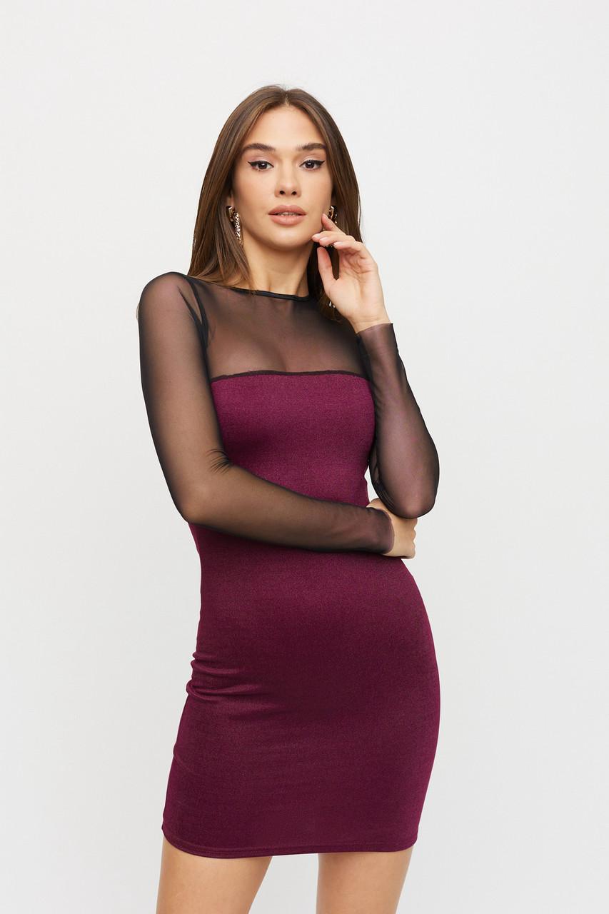 Облегающее клубное мини платье с сеткой