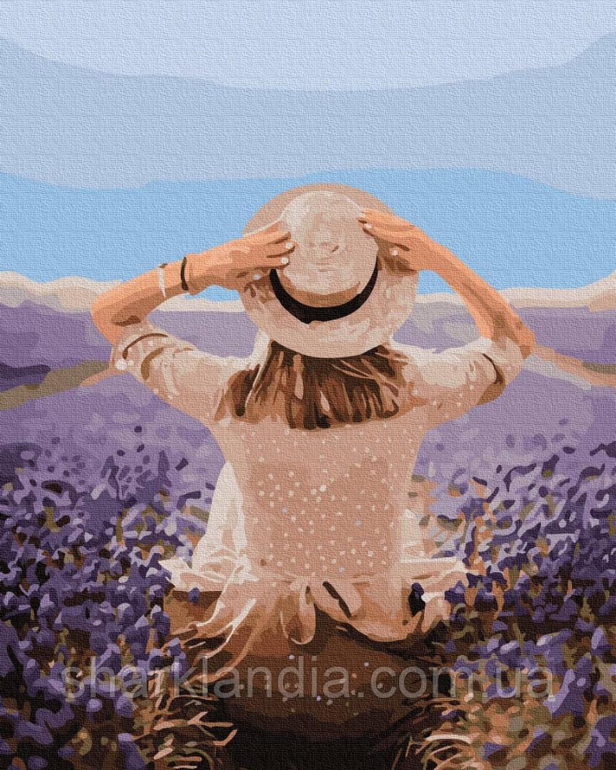 Картина по номерам Путешественница в лавандовом поле 40*50см Brushme  Лаванда