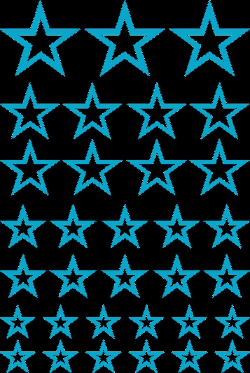 Наклейки Звёзды контурные голубые