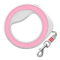 Поводок-рулетка круглая WAUDOG, размер XS-M, до 40 кг, 2,9 м, розовая