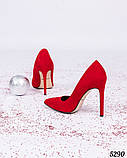 Туфли лодочки на высокой шпильке красные, фото 4