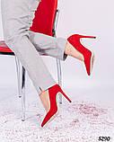 Туфли лодочки на высокой шпильке красные, фото 5