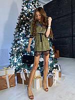 Мерцающее платье с кружевом на кулиске