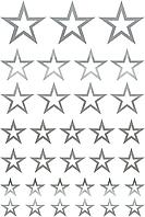 Наклейки Звёзды контурные серебро
