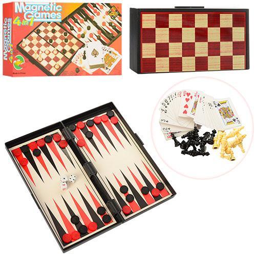 Шахматы 9841  магнитные, 4в1,(шашки,нарды,карты), в кор-ке,25-13-3,5см