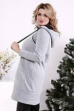 Туника женская теплая большой размер на флисе серая, фото 2