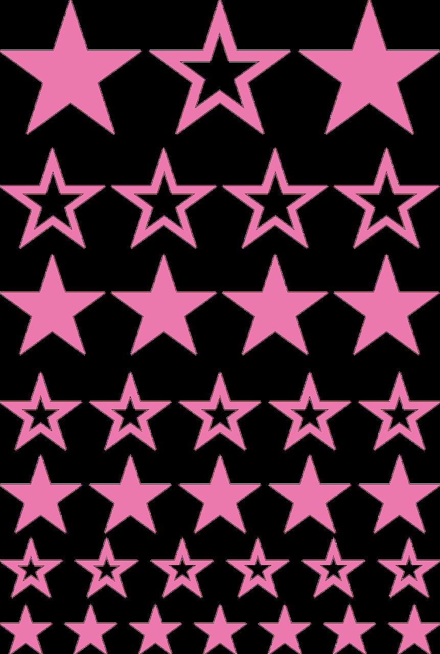 Наклейки Звёзды микс розовые