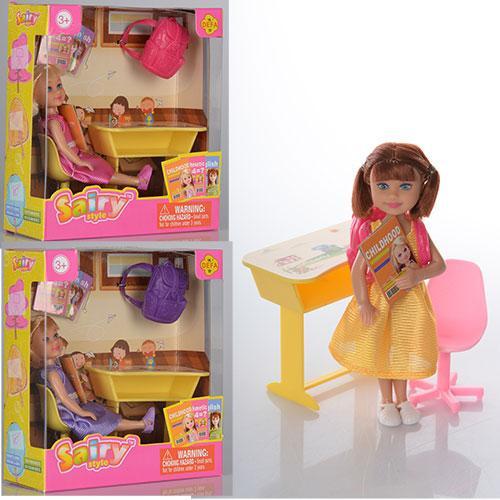 Кукла DEFA 8298  13см, парта, рюкзак, стульчик, 3 вида, в кор-ке, 15-16,5-6см