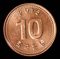 Монета Южной Кореи 10 вон 2015 г., фото 1