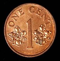 Монета Сингапура 1 цент 1995 г., фото 1
