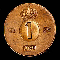 Монета Швеции 1 эре 1963 г., фото 1