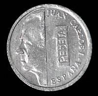 Монета Испании 1 песета 1996 г. Хуан Карлос I, фото 1