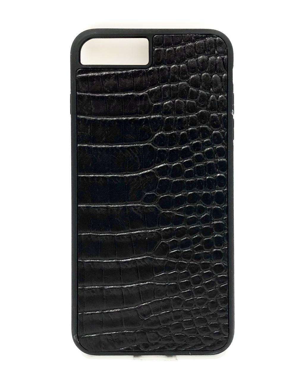 Чехол для iPhone 7+/8+ черного цвета из Телячьей кожи тиснёной под Крокодила