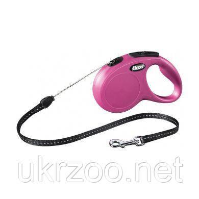 Поводок-рулетка для собак Flexi с тросом «New Classic» S 5 м / 12 кг (розовая) 11786 PINK Flexi