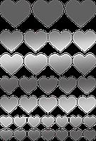 Наклейки Сердца серебро