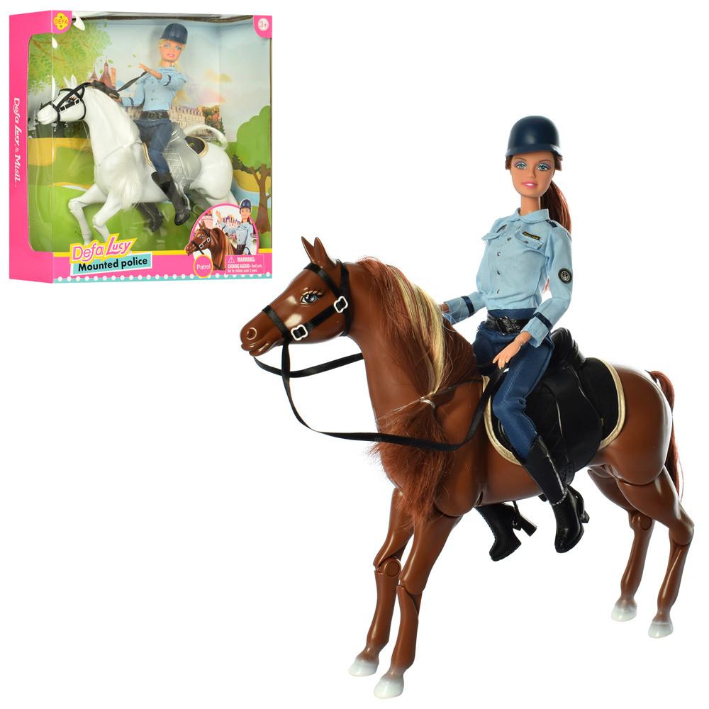 Кукла DEFA 8420-BF  29см, шарнирная, лошадь 30см, 2вида, в кор-ке,34-35,5-9,5см